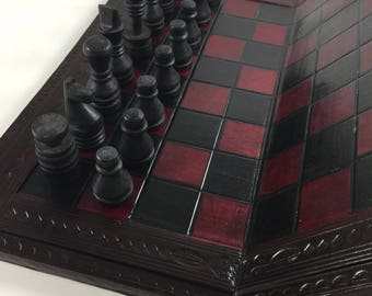 African Chess Set Wood Carved Pieces Leather and Wood Folding Board