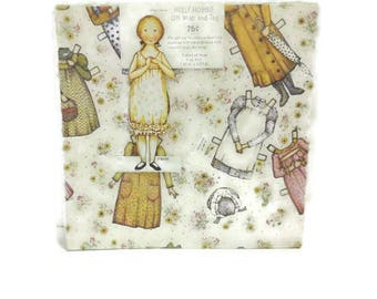Vintage Holly Hobbie Gift Wrap And Paper Doll Tag