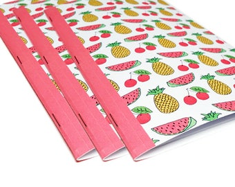 Fruit Notebooks - Diet Journal - Set of 3 - Buy 2 Get 1 Free - Cooking School Notebook - Recipe Note Book - Foodie Gift - Kitchen Notebooks