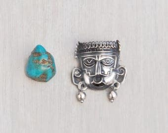 Vintage Tribal Mask Brooch - small Mexican sterling silver Aztec Mayan face pin with earrings and nose ring - hecho en Mexico MLR 925