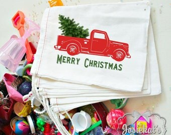 """Christmas Favor Bag - Red Pickup Christmas Favors - Christmas Truck Party Favor -  Kids Retro Vintage 4X6 or 6X8 10 count """"Christmas Truck"""""""