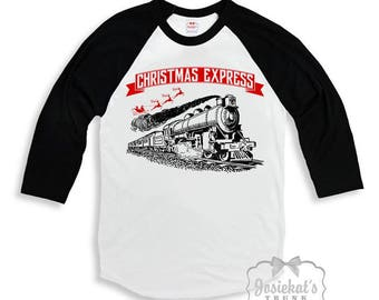 "Christmas Train Shirt - ""Christmas Express"" Shirt - Retro Christmas Shirt - Boy Train Shirt - Baseball Train Shirt - Merry Christmas Train"