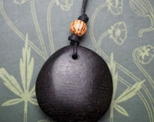 Ancient Bog Oak Pebble Pendant - Ancestors - Pagan, Druid, Wicca, Witchcraft - Ancient History