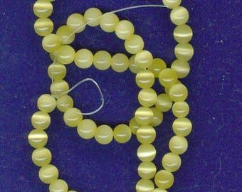 Light Yellow Beads, 6mm Light Yellow Cats Eye Fiber Optic Glass Spacer Catseye Beads 65 Beads