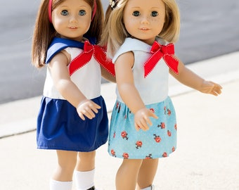 PDF Sailor Dress Sewing Pattern for 18 inch doll clothes American Girl Dolls