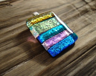 Dichroic Glass Necklace - Fused Glass Pendant - Stripes and Shine