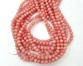 1 Strand (88 PCS) Mauve Pink Jade Beads 4MM (H2603)