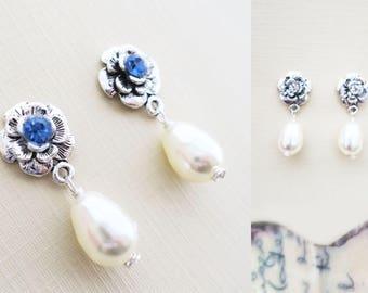 Blue Bridal Earrings Swarovski White Pearl Wedding Jewelry Vintage Style Wedding Earrings Silver Flower Bridesmaid Jewelry Stud Drop Pearl