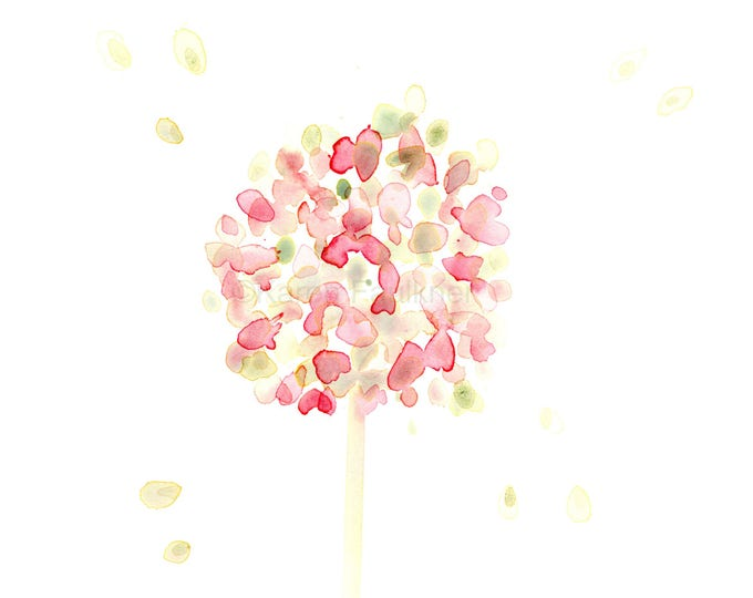 """Original watercolor flower painting: """"Pink and Green Hydrangea Bloom"""""""