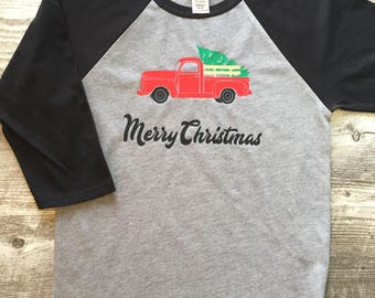 Unisex Boys Girl Vintage Holiday Seasonal Merry Christmas Pick up Truck Christmas Tree Baseball T Shirt modern graphic tee
