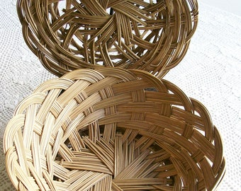 Vintage Woven Baskets  Set of 2  Split Bamboo Reed Weaving Round Baskets  1970's