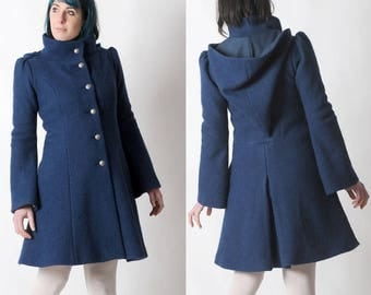 LAST ONE Blue winter Coat, Womens blue winter coat with Goblin Hood and tall collar, Blue hooded coat - Size UK 8