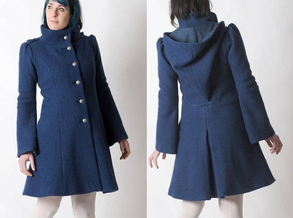 Blue winter Coat Womens blue wool coat with Goblin Hood and