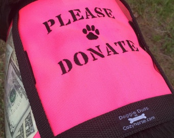 Fund raising dog vest with large clear pockets for money, hot pink, size works well for medium to large dogs, animal rescue,  donation vest