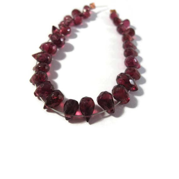 Rhodolite Garnet Briolettes, Imperfect Strand of 30 Little Briolettes, 4x3mm - 6x4mm, Natural Gemstones for Making Jewelry (B-Rho1)