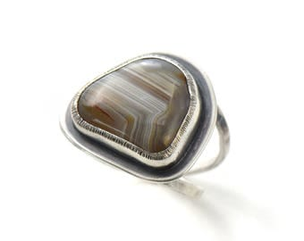 Handmade Lake Superior Agate Sterling Silver Double Band Ring Size 7.5
