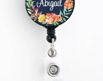Retractable ID Badge Holder - Navy Floral Wreath - Personalized Name Badge Reel, Steth Tag, Lanyard, Carabiner Nurse Badge / Teacher Badge