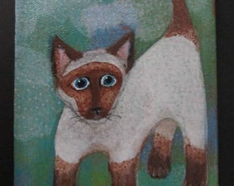 Original  Acrylic on Canvas YOUNG SIAMESE KITTY 5 by 7 inch  Cat Painting by Canadian Ellen Haasen 2017 Signed