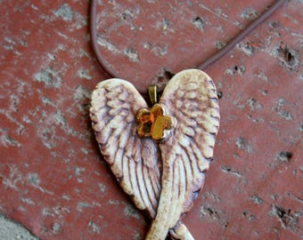Rustic Winged Golden Flower Porcelain Pendant, Remembrance