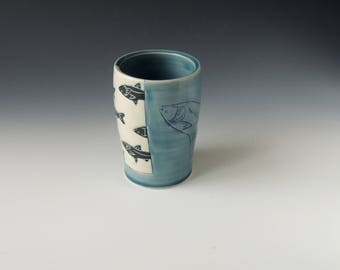 Blue Fish Tumbler - ceramic porcelain clay cup with Asian carp - handmade wheel thrown pottery