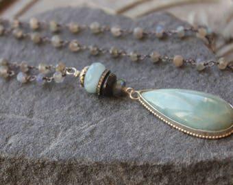Long  Aquamarine  Pendant, Briolette pendant, Milky blue Santa Maria Aquamarine, Spiritual Jewelry, Long pendant