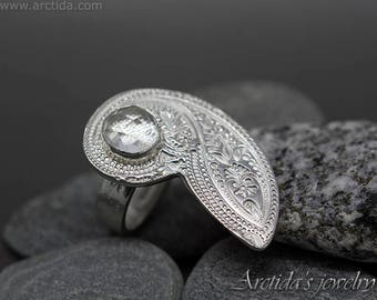 Cocktail Ring size 7 Paisley patterned fine silver and Crystal Clear Quartz fine jewelry natural faceted gemstone ring large ring wide band