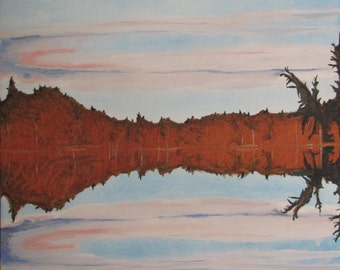 """Art Large Landscape Oil Painting Reflection Zen By Fournier """"The Double Moon On Barbue Lake Frontenac National Park Quebec Canada """" 40 x 30"""