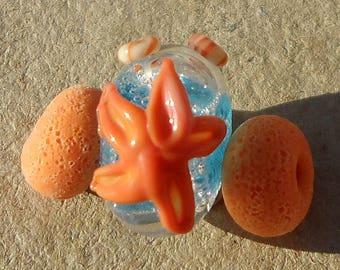Handmade glass bead- lampwork bead and spacer bead set- starfish beads with bubble surf in aqua blue, apricot orange, and ivory.