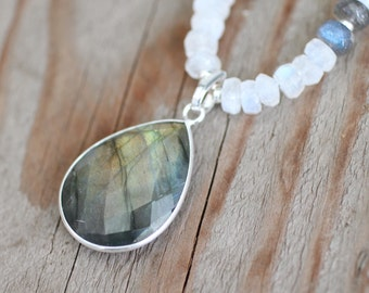 Chunky Labradorite and Moonstone Necklace. Large Rainbow Necklace. Flashy Protective Stone. Rebirth