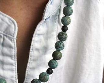 African Turquoise Necklace . Lava Rock Diffuser Necklace . Turquoise Beaded Long Necklace . Black and Blue Necklace - Corinth Collection NEW
