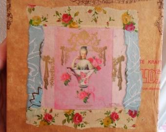 Paper, Kraft, Crackles Paper COLLAGE on Canvas, Square Frame: MARIE-ANTOINETTE, Handmade by Yael Bolender