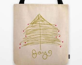 minimalist holiday christmas fabric tote bag- christmas tree- gold-red-beige-holiday market tote-affordable gift idea for her