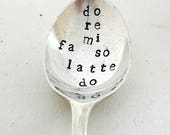 Music Lover's Coffee Spoon, Coffee Solfa, Handstamped Spoon, Hand Stamped Vintage Spoon, Do Re Mi