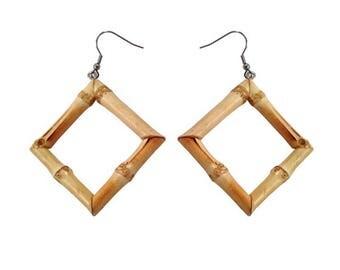 Natural Bamboo Square Hoop earrings by Voodoo Betty Tiki Rockabilly