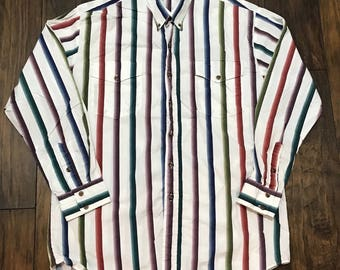 Vintage Roper Western Wear Striped Button Down Shirt Made in USA Mens Workwear Size XL ( 17 1/2 - 35 )