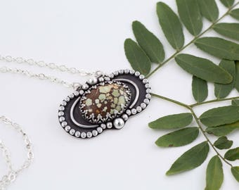 Brave New World Necklace, Hubei Turquoise, OOAK, Handcut Designer Cabochons, Silver Turquoise Necklace, Gifts for Her, Sterling Silver