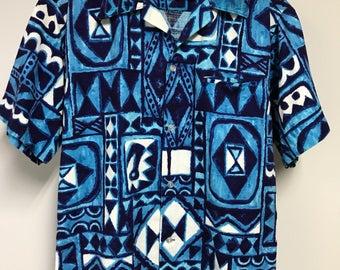 Vintage Short Sleeve Tiki Hawaiian Shirt by Maluna Hawaii/FREE SHIPPING