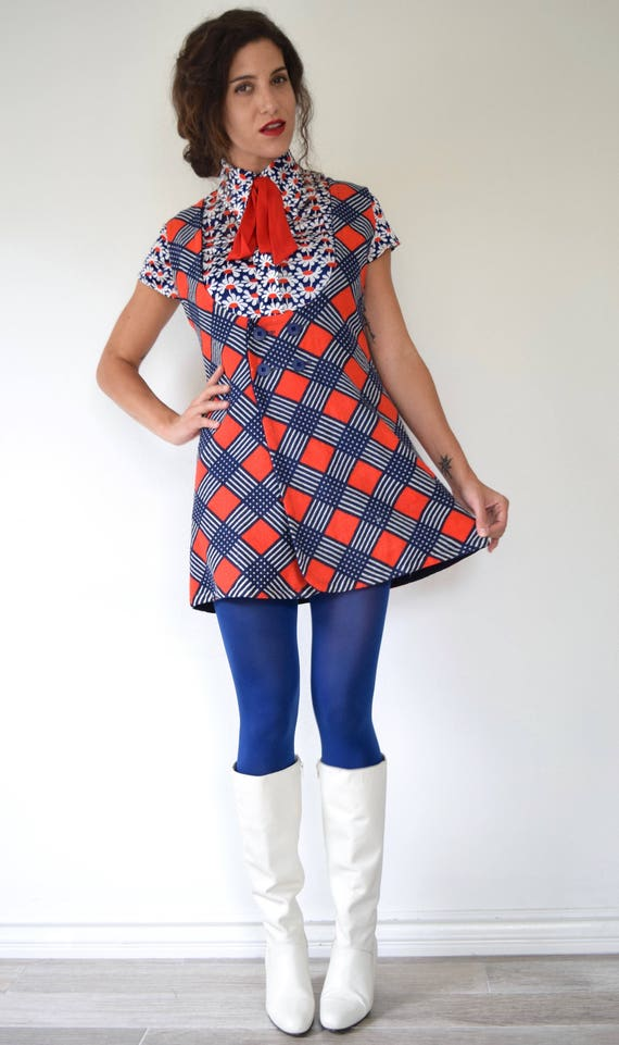 SUMMER SALE / 20% off Vintage 60s 70s Mind the Gap Red White and Blue Checkered Reversible Mini Dress or Jumper (size medium)