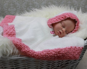 Baby Knitting Pattern Hooded Poncho Knitting Pattern4 Sizes DIGITAL DOWNLOAD 159