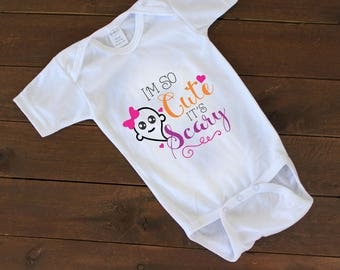 I'm So Cute It's Scary, Halloween Onesie, Ghost Onesie, Holiday, Newborn Onesie, Funny Baby Onesie, Halloween Bodysuit --62084-AP02-603