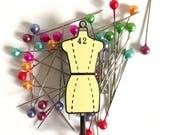 mannequin enamel pin, crafty enamel pin, hard enamel pin, enamel pin set, dressform enamel pin, pingame, craft enamel pin, sewing pin YELLOW