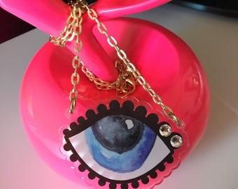 "TO MATI  ""darling sweet life"" 2017 laser cut silkscreen print necklace, plexiglass, acrylic, perspex"