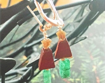 Green Xmas Earrings - Christmas Jewelry - Christmas Green Tree Earrings - Rustic Tree Earring - Xmas Jewelry - Silver Holiday Earrings
