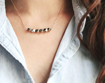 Faceted Row Stone Pyrite Necklace | 14k Gold Filled | Sterling Silver