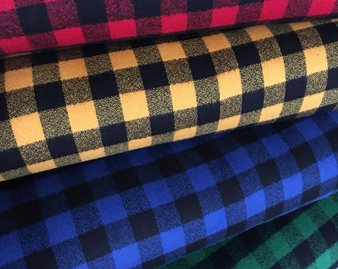 FLANNEL fabric, Mammoth Flannel Fabric Bundle of 4, Hipster fabric, Lumberjack, Red Black Plaid, Robert Kaufman- Choose the cuts