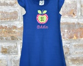 APPLE Back to School Dress - Custom Monogram Personalized Flutter Sleeve Navy Back To Schol Dress - 12m-10 years - Julianne Originals