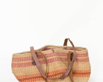 1980s Jute Bag --- Vintage Striped Shoulder Bag