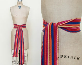 Vintage Striped Belt --- 1980s Wrap Sash