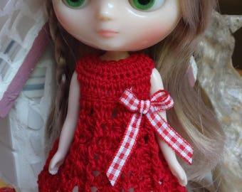 Crochet Dress Flared Skirt for 8 inch 20cm Blythe Middie doll Red White gingham bow