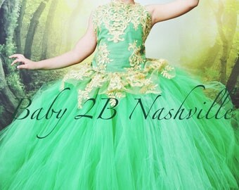 Emerald Green Dress Gold Dress Flower Girl Dress Princess Dress Tulle Dress Lace Dress Wedding Dress Birthday Dress Tutu Dress Girls Dress
